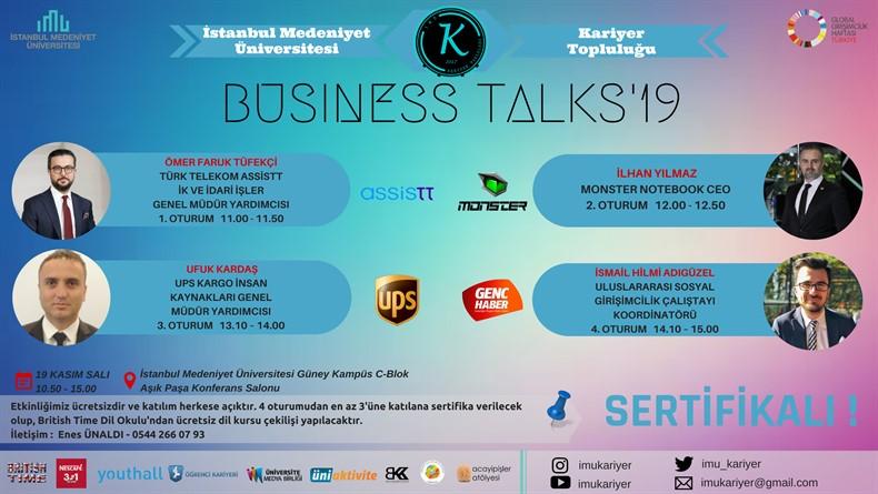 Öğrenci Kariyeri: Business Talks'19 Etkinliği 19 Kasım'da İstanbul Medeniyet Üniversitesi'nde