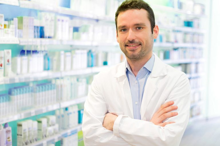 View of a Young Attractive pharmacist at work